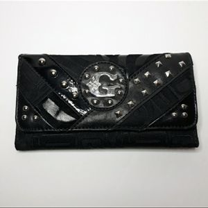 Black Tri Fold  Wallet With Silver Embellished